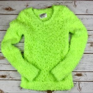 Justice Lime Green Fuzzy Sweater  Sz. 14